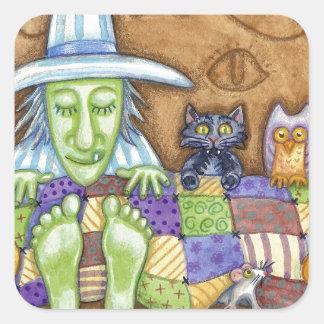 Sleeping Witch Square Sticker