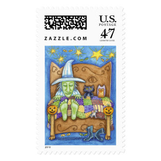 Sleeping Witch with Friends Postage