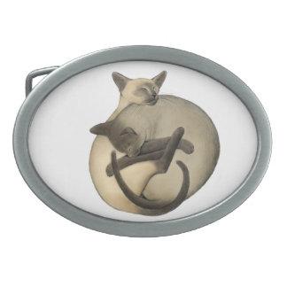 Sleeping Yin Yang Siamese Cats Belt Buckle