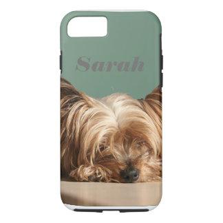 Sleeping Yorkie dog. iPhone 7 Case