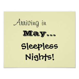 Sleepless Nights Baby Announcement Poster