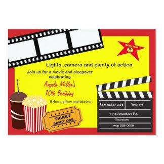 Sleepover and Movie Night Birthday 5x7 Paper Invitation Card