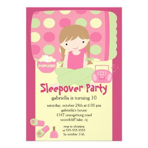 Sleepover Birthday Party Inviation Custom Invites