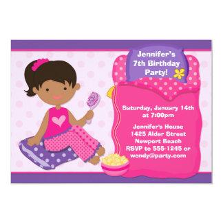 Sleepover Birthday Party Invite African American