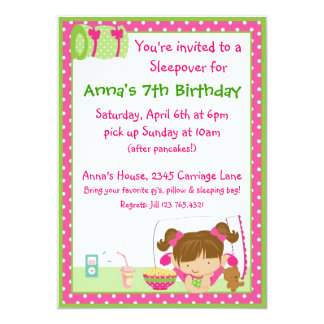 Sleepover Brunett Invitaciones Personalizada