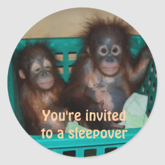 Sleepover Children's Invitations Classic Round Sticker