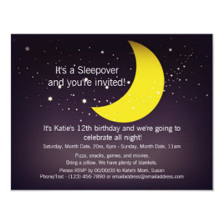 Sleepover Moon and Stars 4.25x5.5 Paper Invitation Card
