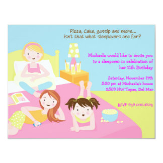 Sleepover Party 4.25x5.5 Paper Invitation Card