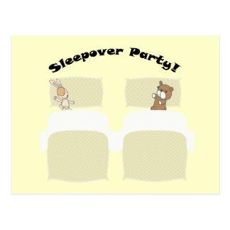 Sleepover Party! Cute Teddies Art Postcard