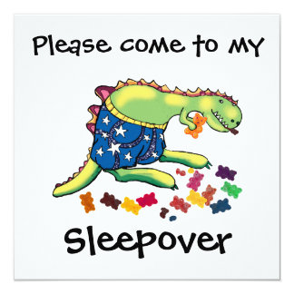 "sleepover party 5.25"" square invitation card"