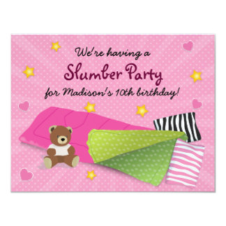 "Sleepover Party Pink 4.25"" X 5.5"" Invitation Card"