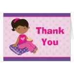 Sleepover Party Thank You African American Girl Stationery Note Card