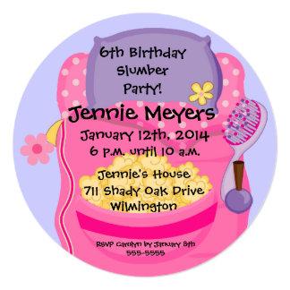"Sleepover Slumber Party Round Birthday Invitation 5.25"" Square Invitation Card"