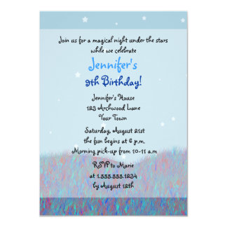 Sleepover Under the Stars Birthday Party - Blue Card