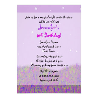 Sleepover Under the Stars Birthday Party - Purple Card