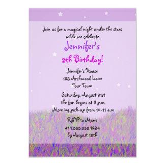 Sleepover Under the Stars Birthday Party - Purple Invitations