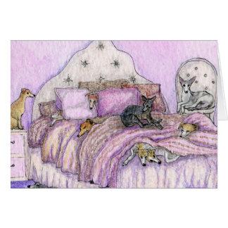 ¡Sleepover - whippets y galgos a montones! Tarjeta De Felicitación