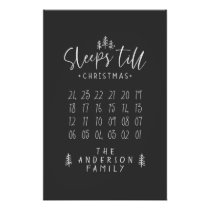 Sleeps 'till Christmas modern minimalist farmhouse Poster