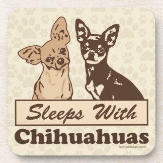 Sleeps With Chihuahuas Beverage Coaster
