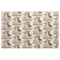 Sleeps With Chihuahuas Pattern Fabric