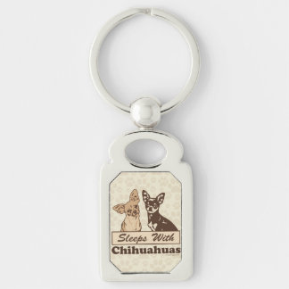 Sleeps With Chihuahuas Silver-Colored Rectangular Metal Keychain