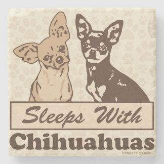 Sleeps With Chihuahuas Stone Coaster