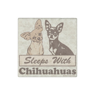 Sleeps With Chihuahuas Stone Magnet