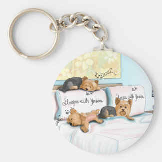 Sleeps with Yorkies by Catia Cho Keychain