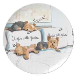 Sleeps with Yorkies by Catia Cho Melamine Plate