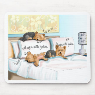 Sleeps with Yorkies by Catia Cho Mouse Pad