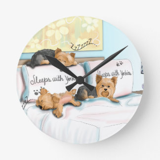 Sleeps with Yorkies Round Clock