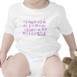 Sleepsuit binario rosado del bebé camiseta