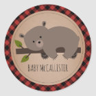 Sleepy Baby Bear Cub Plaid Baby Shower Classic Round Sticker
