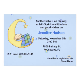 Sleepy Baby Boy Sprinkle Shower Invitation