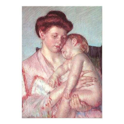 Sleepy Baby by Mary Cassatt, Vintage Baby Shower Personalized Invite