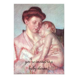 Sleepy Baby by Mary Cassatt, Vintage Baby Shower 5x7 Paper Invitation Card