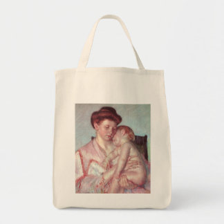Sleepy Baby by Mary Cassatt, Vintage Impressionism Grocery Tote Bag