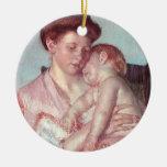 Sleepy Baby by Mary Cassatt, Vintage Impressionism Ornaments