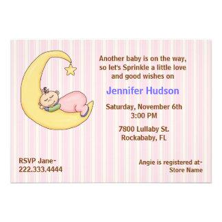 Sleepy Baby Girl Sprinkle Shower Invitation