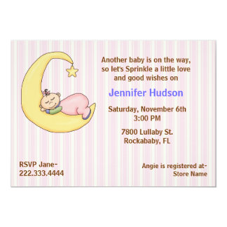 Sleepy Baby Girl Sprinkle Shower Invitation