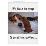 Sleepy Basset Hound Card