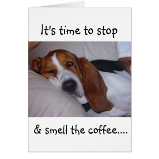 Sleepy Basset Hound Card