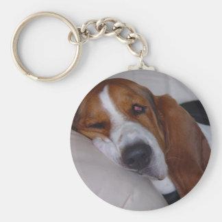 Sleepy Basset Hound Keychain