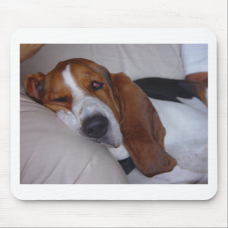 Sleepy Basset Hound Mouse Pad
