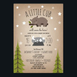 "Sleepy Bear Cub  Mountains Baby Shower Invitation<br><div class=""desc"">A baby shower invitation featuring an illustration of a baby bear lounging on a tree branch surrounded by stars.  Mountain illustration and trees at bottom. Personalize the text.  Background is card stock inspired.</div>"