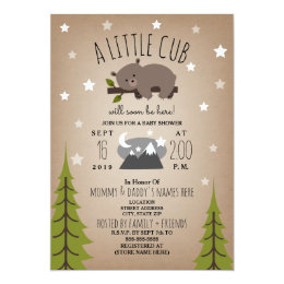 Bear baby shower invitations announcements zazzle sleepy bear cub mountains baby shower invitation filmwisefo Choice Image