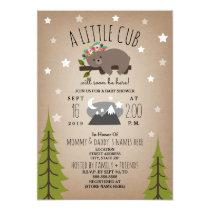 Sleepy Bear Cub  Mountains Girl Baby Shower Card