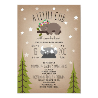 Sleepy Bear Cub  Mountains Girl Baby Shower Card
