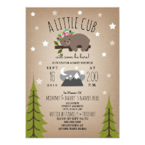 Sleepy Bear Cub  Mountains Girl Baby Shower Invitation