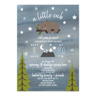 Sleepy Bear Cub  Mountains Watercolor Baby Shower Invitation